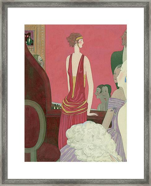 Illustration Of A Woman In A Red Dress Framed Print