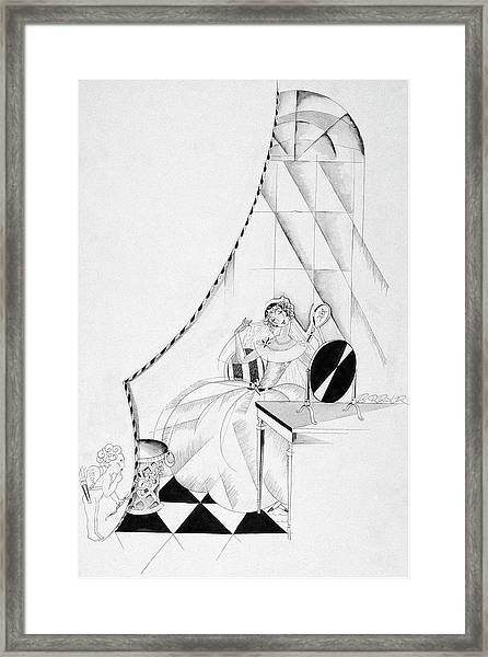 Illustration Of A Woman In A Wedding Dress Framed Print