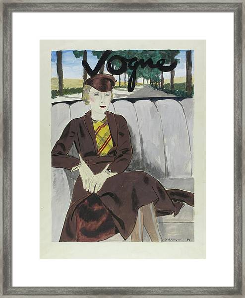 Illustration Of A Woman In The Back Seat Of A Car Framed Print