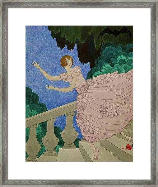Illustration Of A Woman Running Down A Staircase Framed Print