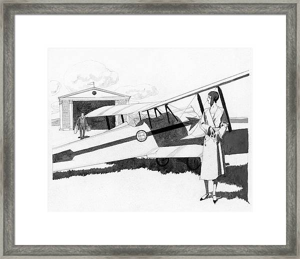 Illustration Of A Woman Standing Next To A Biplane Framed Print