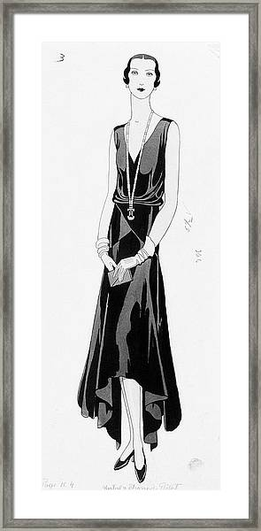Illustration Of A Woman Wearing A Dress Framed Print
