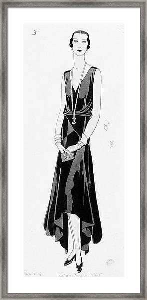 Illustration Of A Woman Wearing A Dress Framed Print by Douglas Pollard