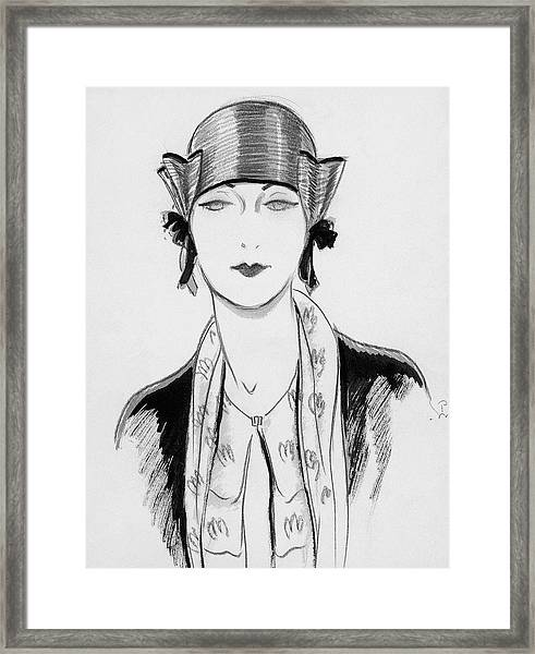 Illustration Of A Woman Wearing A Hat Framed Print