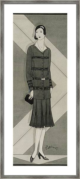 Illustration Of A Woman Wearing A Suit Dress Framed Print