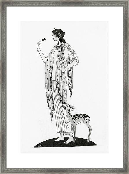 Illustration Of A Woman With A Deer Framed Print