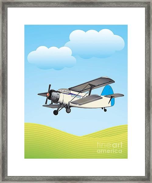 Illustration Of Biplane Flying Framed Print