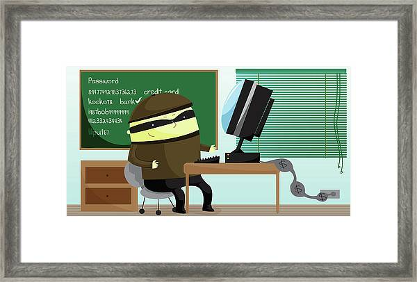 Illustration Of Computer Hacker Framed Print