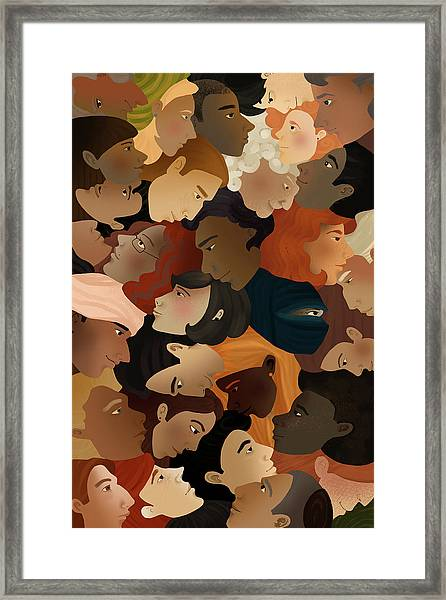 Illustration Of Crowd Framed Print by Fanatic Studio / Science Photo Library