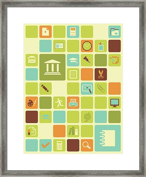 Illustration Of Educational Icons Over Coloured Background Framed Print