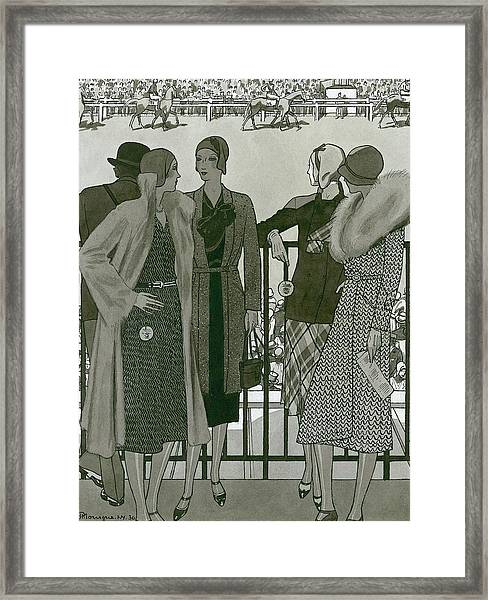 Illustration Of Four Women At The Grand National Framed Print by Pierre Mourgue