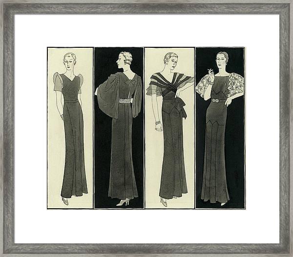 Illustration Of Four Women In Evening Dresses Framed Print