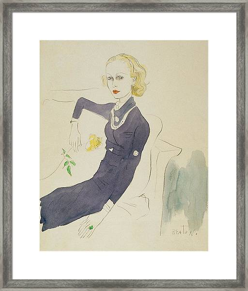 Illustration Of Lady Abdy Sitting On Sofa Framed Print