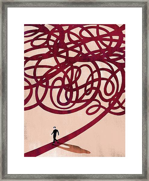 Illustration Of Man Walking On Trail Representing Right Path Framed Print