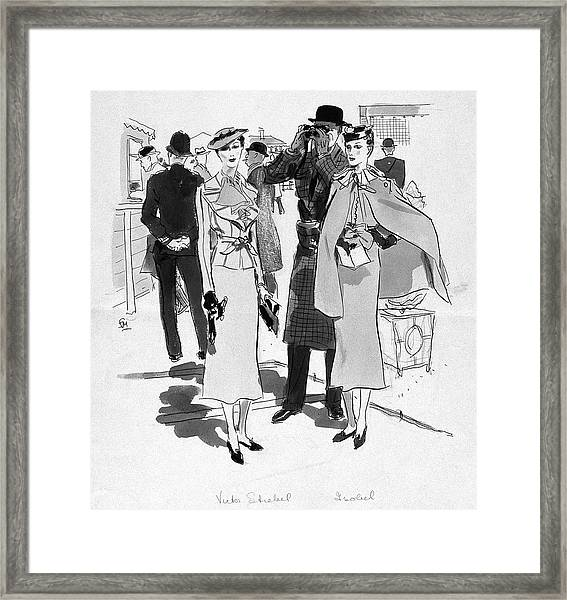 Illustration Of Men And Woman At The Races Framed Print by Francis Marshall