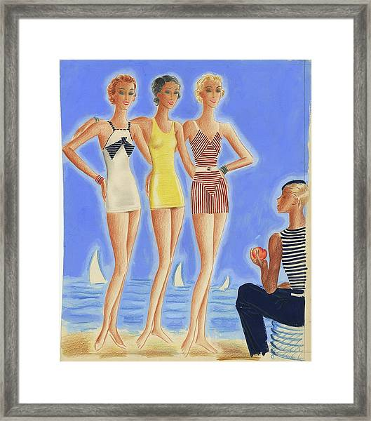 Illustration Of Models On A Beach Wearing Bathing Framed Print