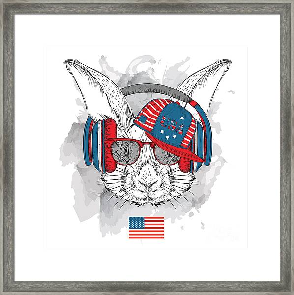 Illustration Of Rabbit In The Glasses Framed Print