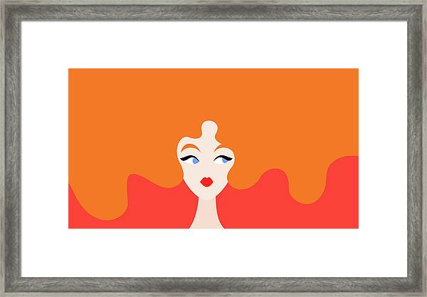 Illustration Of Red-haired Woman Framed Print