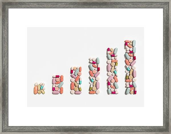 Illustration Of Rising Cost Of Prescription Drugs Framed Print by Fanatic Studio / Science Photo Library