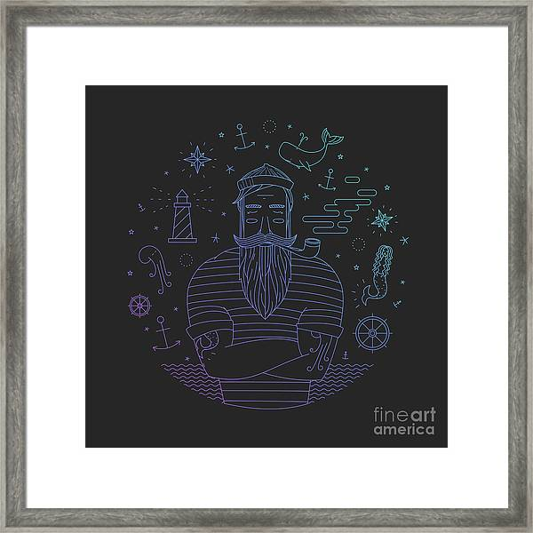 Illustration Of Sailor With Pipe Dreams Framed Print
