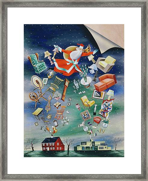Illustration Of Santa Claus Framed Print