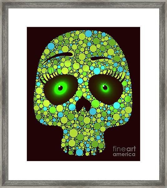 Illustration Of Skull Made With Colored Framed Print