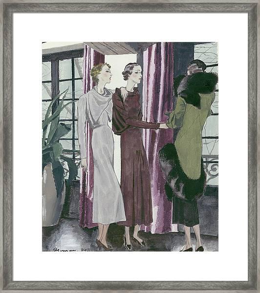 Illustration Of Three Fashionable Women Framed Print