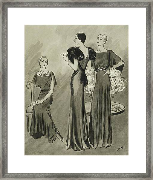 Illustration Of Three Models In Evening Gowns Framed Print