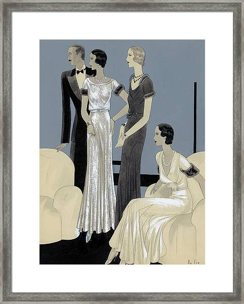 Illustration Of Three Women And Man In A Sitting Framed Print