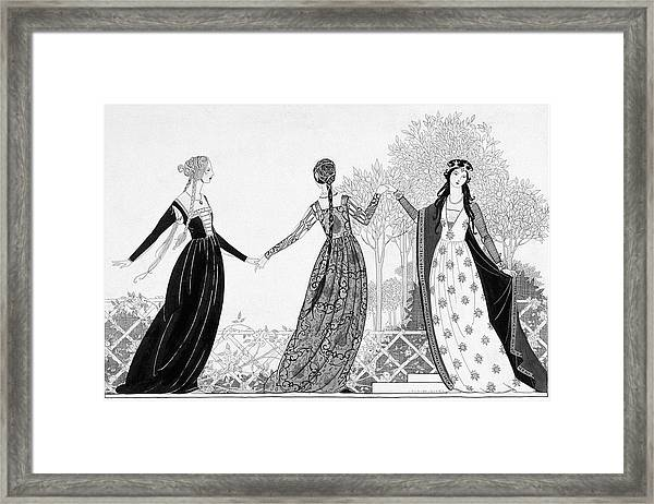 Illustration Of Three Women From The Italian Framed Print