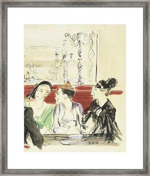 Illustration Of Three Women Wearing Designer Hats Framed Print