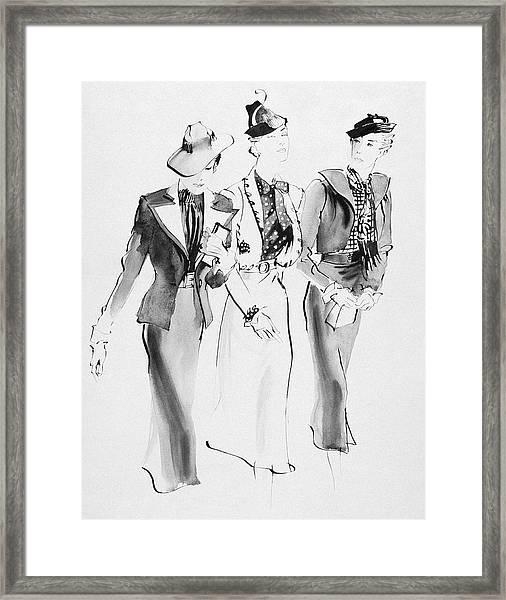 Illustration Of Three Women Wearing Skirt Suit Framed Print