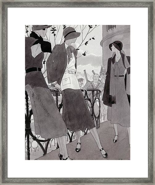 Illustration Of Three Women Wearing Stylish Suits Framed Print