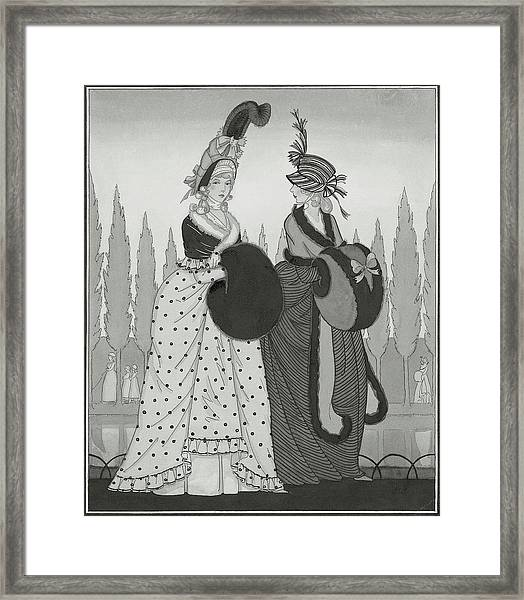 Illustration Of Two Eighteenth Century Women Framed Print
