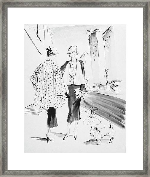 Illustration Of Two Fashionable Women Framed Print by Rene Bouet-Willaumez