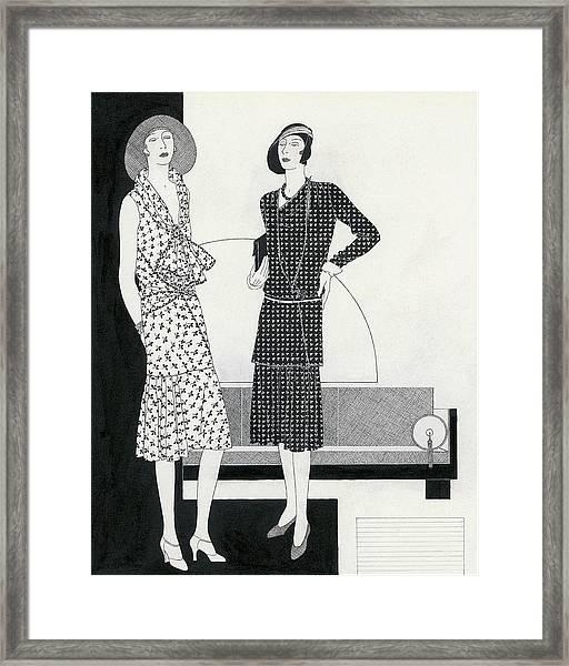 Illustration Of Two Models Wearing Dresses Framed Print