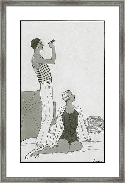 Illustration Of Two Women At A Beach Framed Print
