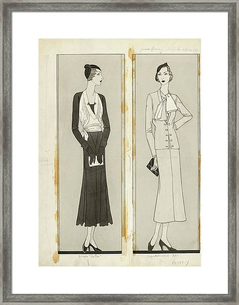 Illustration Of Two Women In Elegant Fashion Framed Print