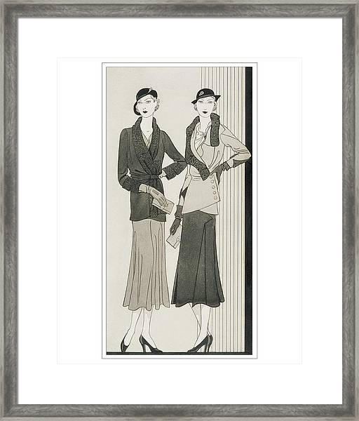 Illustration Of Two Women Modeling Suits Framed Print