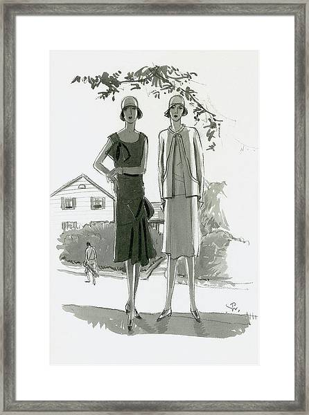 Illustration Of Two Women Standing In Shadow Framed Print by Porter Woodruff