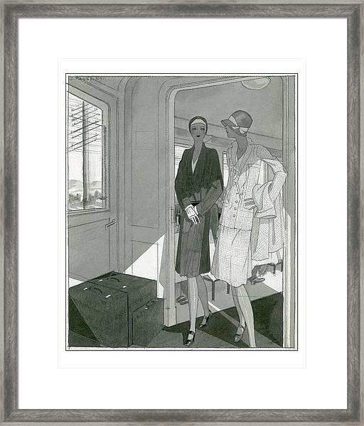 Illustration Of Two Women Traveling Cross-country Framed Print