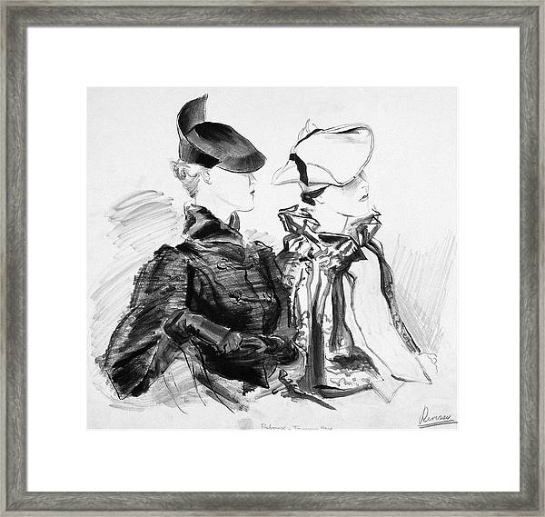 Illustration Of Two Women Wearing Berets And Capes Framed Print by Rene Bouet-Willaumez