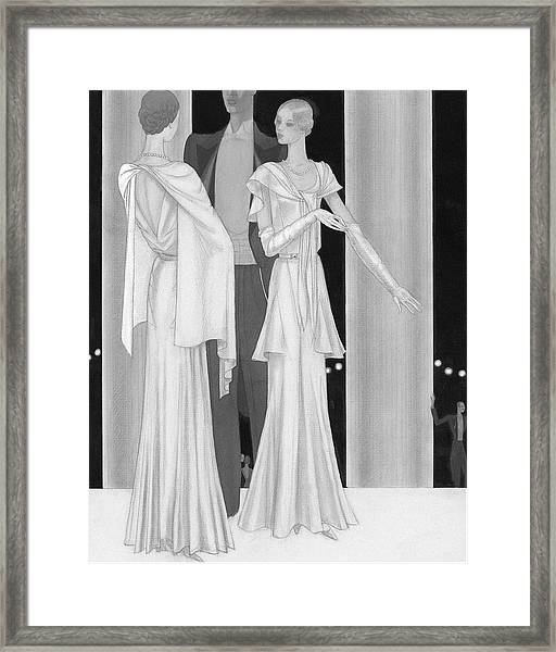 Illustration Of Two Women Wearing Evening Dresses Framed Print