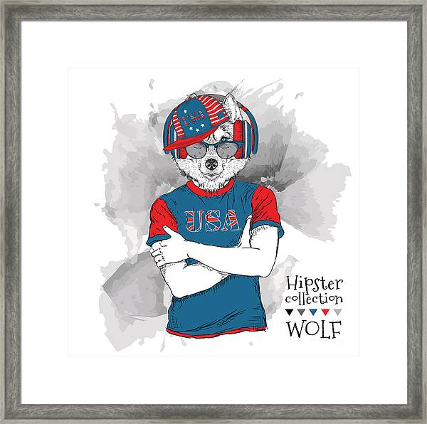 Illustration Of Wolf  Dressed Up In The Framed Print