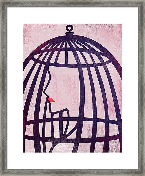 Illustration Of Woman In Cage Framed Print