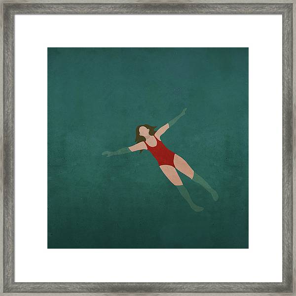 Illustration Of Woman Swimming In Water Framed Print