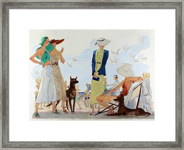 Illustration Of Women In Beachwear Framed Print