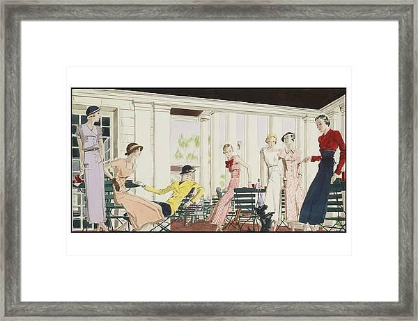 Illustration Of Women On Terrace Framed Print