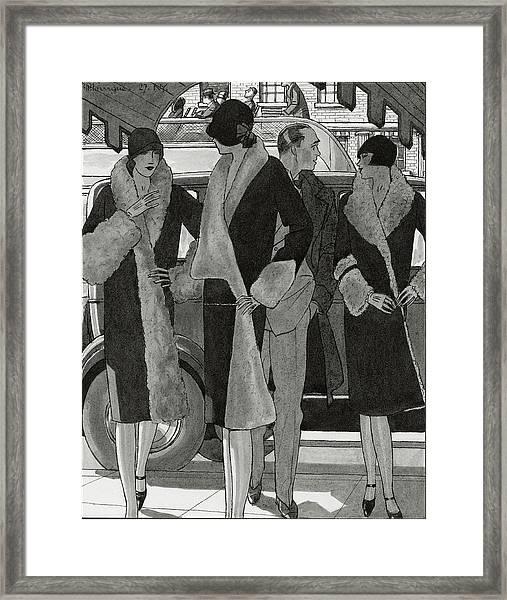 Illustration Of Women Wearing Coats Framed Print