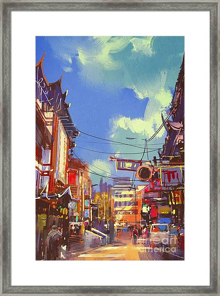 Illustration Painting Of Shopping Framed Print by Tithi Luadthong